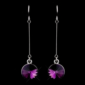 Elegant Silver Amethyst Crystal Drop Earrings 25729***Discontinued***