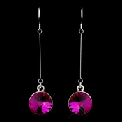 Elegant Silver Fuchsia Crystal Drop Earrings 25729