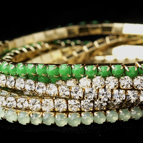 Golden Studded Bohemian Wrap Bracelet with Green Rhinestone Adornment 8810