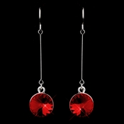 Elegant Silver Red Crystal Drop Earrings 25729