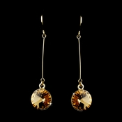 Elegant Gold Topaz Crystal Drop Earrings 25729