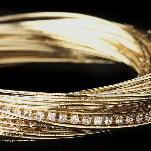 Gold and Clear Crystal Bangle Bracelet 8852