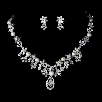Pearl & Crystal Bridal Jewelry Set NE 8345 Silver***Discontinued***