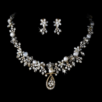 Pearl & Crystal Bridal Jewelry Set NE 8345 Gold***Discontinued***
