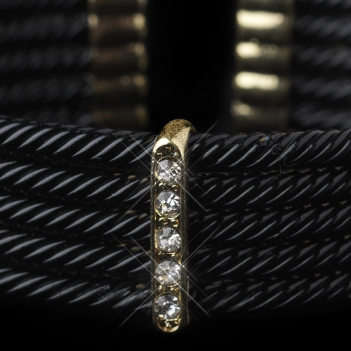 Gold Black Rhinestone Coiled Designer Inspired Open Cuff Bangle Bracelet 8865
