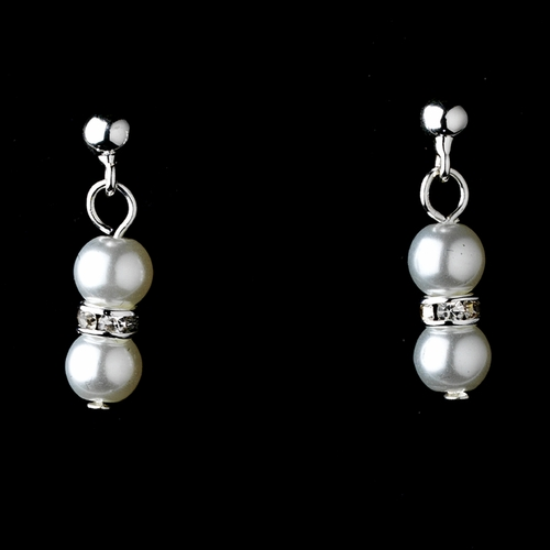 Lovely Children's Silver White Pearl Necklace & Earring Set 5120
