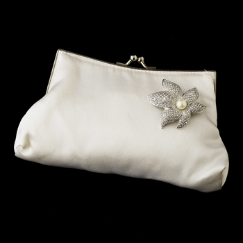 Silk Satin Evening Bag 202 with Silver Ivory Pearl or Clear Crystal Starfish Orchid Brooch 67