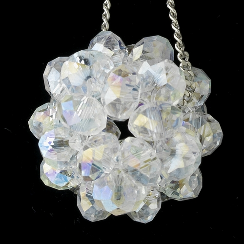 * Clear Aurora Borealis Beaded Ball Earring Set 8551