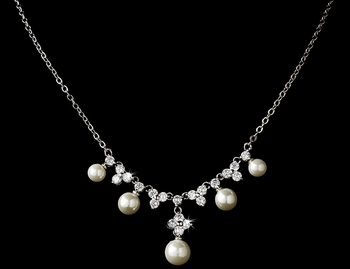 Shimmering Silver Freshwater Pearl CZ Necklace N 2615