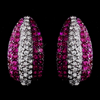 Glamorous Silver Clear & Fuchsia Rhinestone Half Hoop Earrings 8713