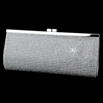 Silver or Gold Clear Crystal Evening Bag 332