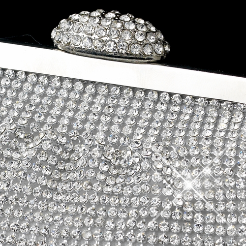 Silver Clear Single Sided Crystal Evening Bag 333