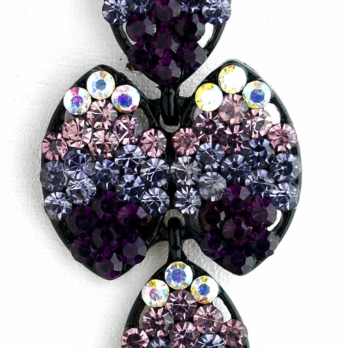 * Four Tone Amethyst Mix on Black Earring Set 8541