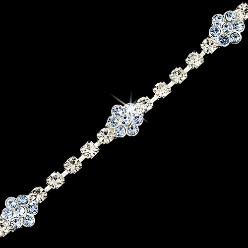 * Light Blue Accented Floral Bracelet B 96