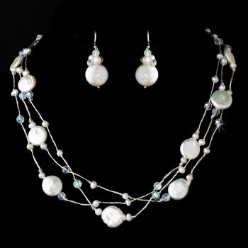 "Freshwater ""Coin"" Pearl & Swarovski Crystal Necklace & Earring Set NE 8252"