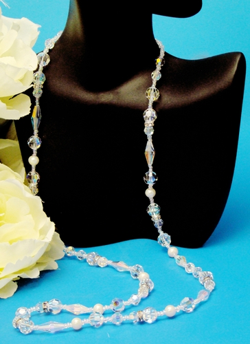 Freshwater Pearl and Swarovski Crystal Necklace N 8209
