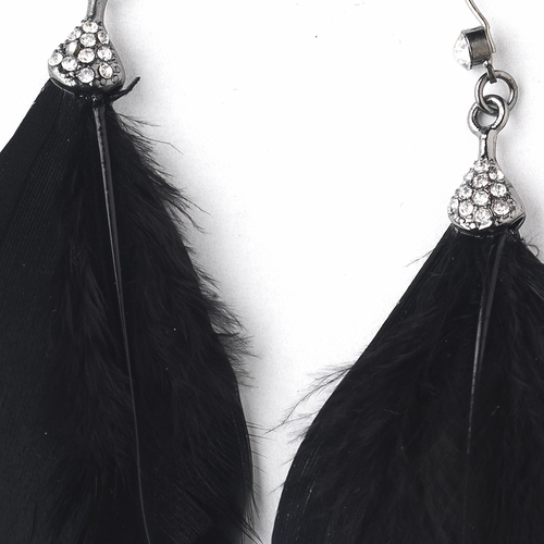 Black Feather Bridal Chain Earrings 22360