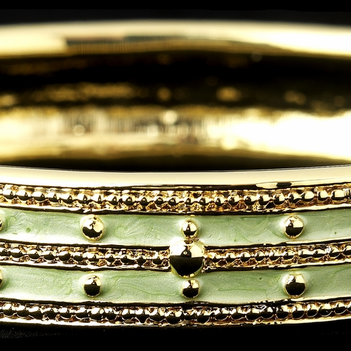 Peridot Green Enamel Hinged Bracelet with Gold Studs 6102
