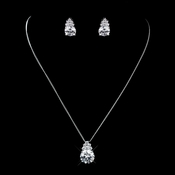 Antique Silver Clear Round CZ Crystal Necklace 652 & Earrings 2499 Jewelry Set