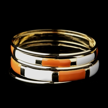 Golden White & Orange Modern Myth Stackable Bangle Bracelet Set 8800