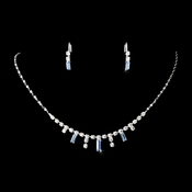 * Silver Light Blue Necklace Earring Set 332 ***1 Left***