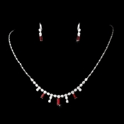 * Silver Burgundy Necklace Earring Set 332 **2 Left**