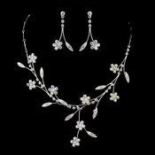 Silver AB Necklace & Earrings Bridal Jewelry Set 363