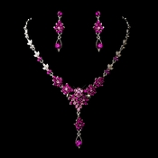 Silver Fuchsia AB Necklace Earring Set 902 **Discontinued**