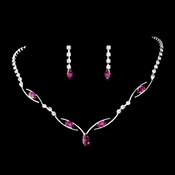 * Silver Fuchsia Necklace Earring Set 5104