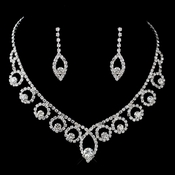 Silver Clear Rhinestone Necklace & Earrings Jewelry Set 47023