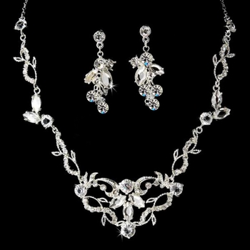 Silver & Clear Crystal Necklace Earring Bridal Jewelry Set NE 8312