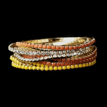 Gold Yellow & Clear Rhinestone Coral 9 Row Fashion Bracelet 8832