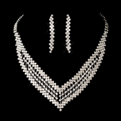 Silver Clear Necklace Earring Set 8532