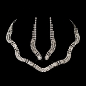 Silver Clear Necklace Earring Set 8534