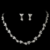 Sweet Silver Clear Crystal Butterfly Necklace & Earring Set 2875 **Discontinued**