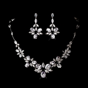 Silver Clear Cubic Zirconia Necklace Earring Set 1278