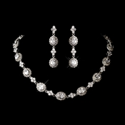 Antique Rhodium Silver Cubic Zirconia Necklace Earring Set 1279