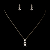 Gold Clear Crystal Cubic Zirconia Drop Jewelry Necklace Earring Set 70756