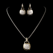 Silver Clear w/ Gold Trim Necklace Earring 7994