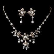 Lovely Gold Ivory Pearl & Clear Crystal Bridal Jewelry Set 5317