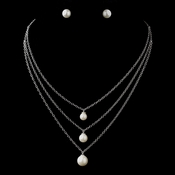 Antique Silver Ivory 8MM Pearl & Clear CZ Crystal Necklace 8912 & Earrings 8934***Discontinued***