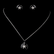 Matching Silver Black Enamel CZ Starfish Pendent & Earrings Jewelry Set 8940