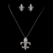 Antique Silver Clear Fleur De Lis CZ Crystal Necklace & Earrings Bridal Jewelry Set 1309***Only 4 Left****