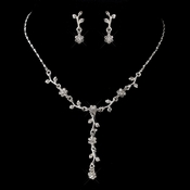 Silver Clear Necklace & Earrings Bridal Jewelry Set 70433