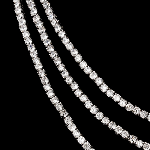 Silver Clear Cubic Zirconia Three Strand Necklace 2768