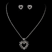Silver Clear Necklace & Earrings Bridal Jewelry Set 71003