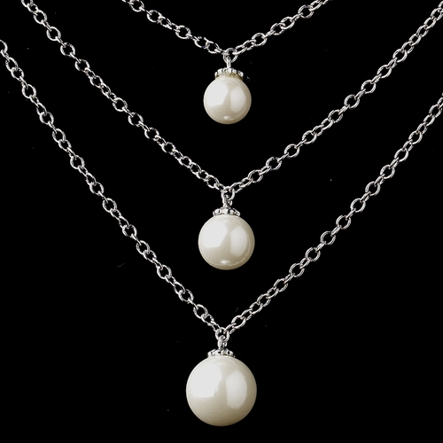 """Antique Silver Ivory 8MM Pearl & Clear CZ Crystal Necklace 8912 & Earrings 8934"""" Earrings Only Available""""***Discontinued***"""