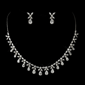 Antique Silver Clear Tear Drop Stone Floral Necklace & Earrings Bridal Jewelry Set 3858
