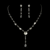 Antique Rhodium Silver Clear Austrian Crystal Necklace & Earrings Bridal Jewelry Set 8008