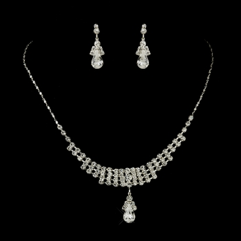 Silver Clear Rhinestone Necklace & Earrings Jewelry Set 72023